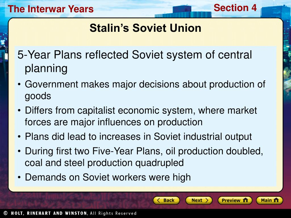 5-Year Plans reflected Soviet system of central planning