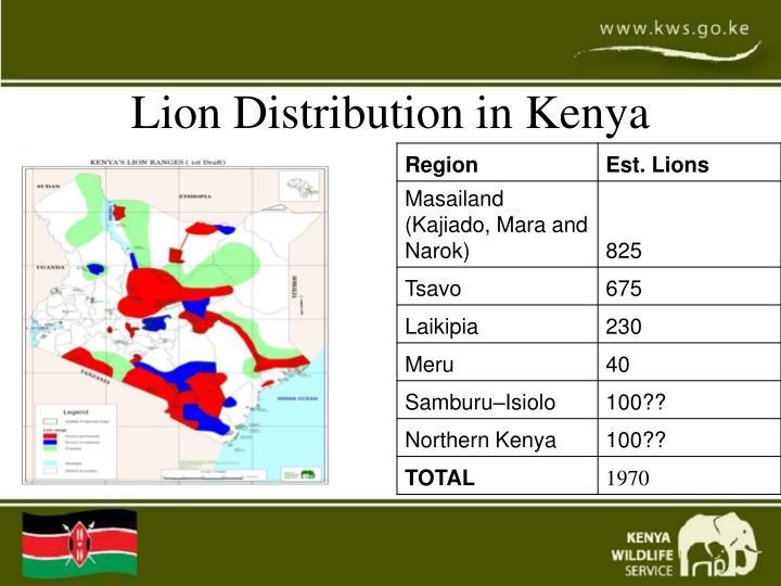 Lion Distribution in Kenya
