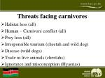 threats facing carnivores