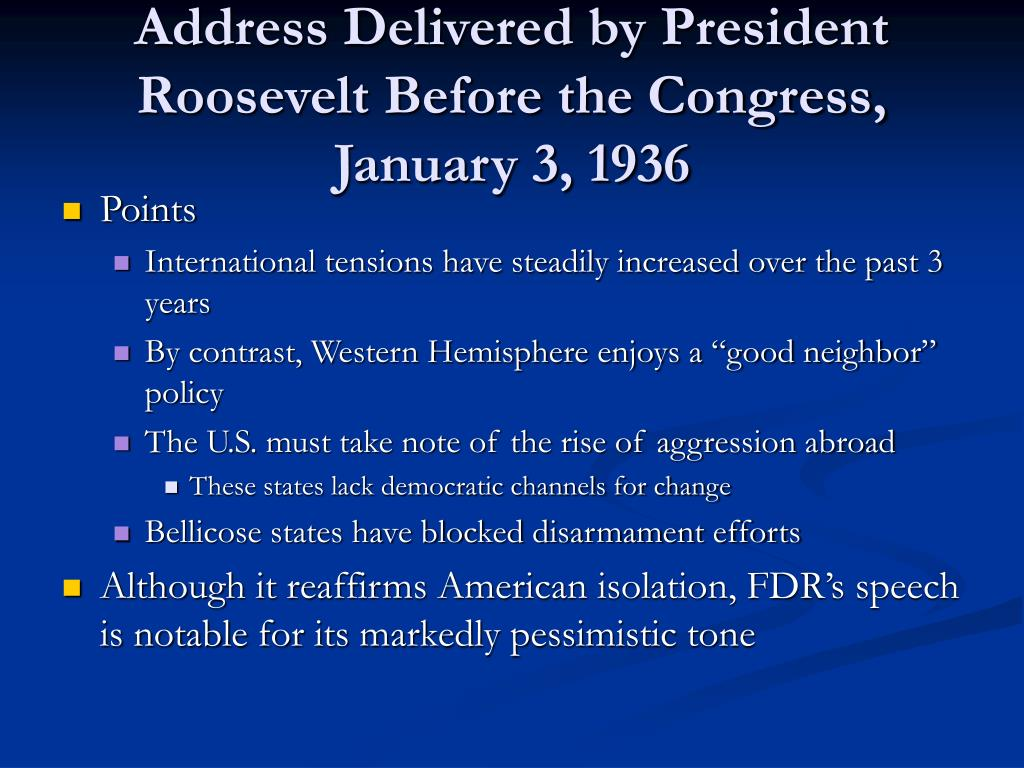 Address Delivered by President Roosevelt Before the Congress, January 3, 1936