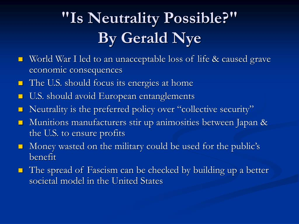 """""""Is Neutrality Possible?"""""""