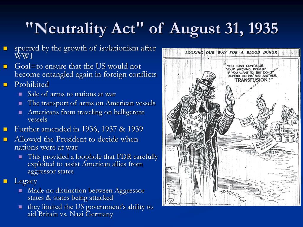"""""""Neutrality Act"""" of August 31, 1935"""