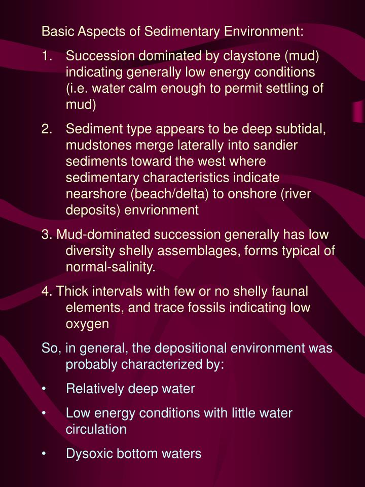 Basic Aspects of Sedimentary Environment: