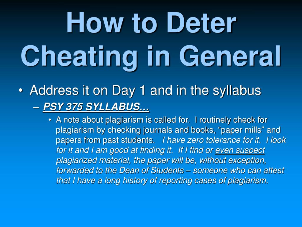 How to Deter Cheating in General