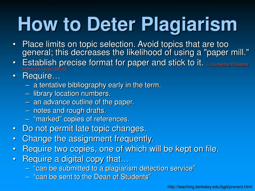 How to Deter Plagiarism
