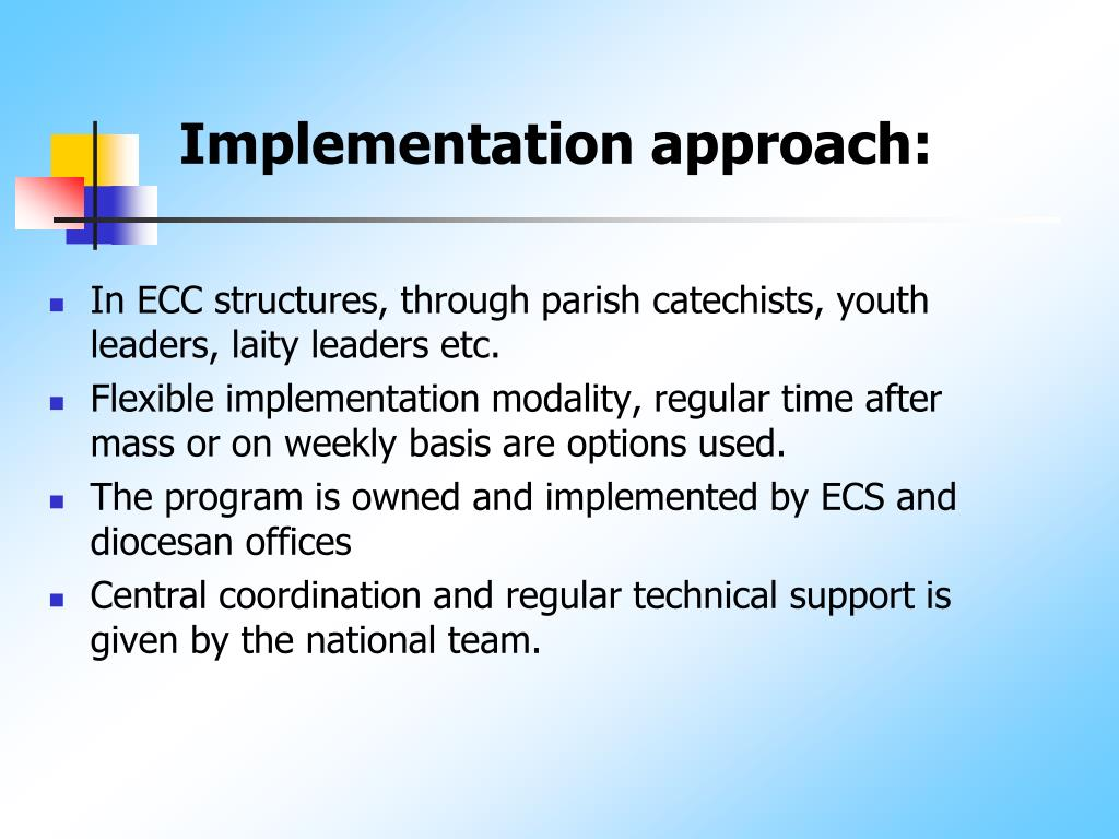 Implementation approach