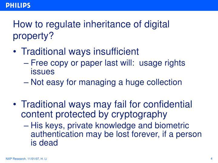 How to regulate inheritance of digital property?