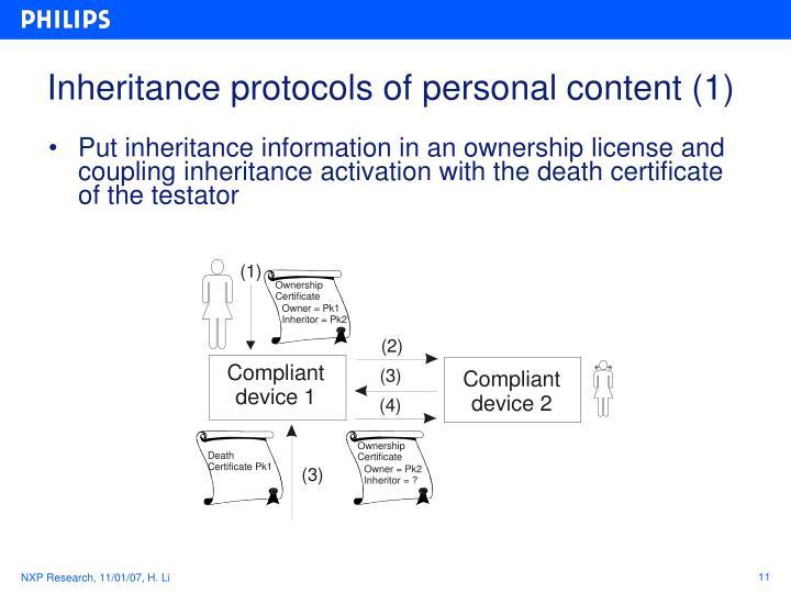 Inheritance protocols of personal content (1)