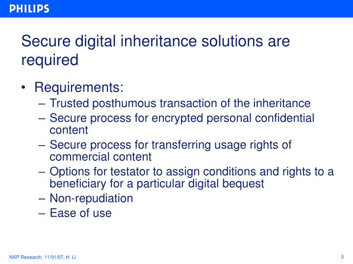 Secure digital inheritance solutions are required