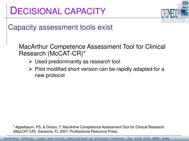 Capacity assessment tools exist