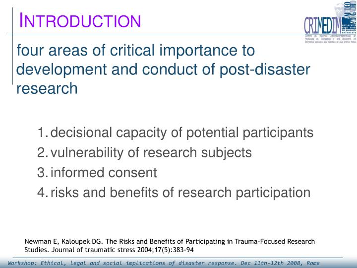 four areas of critical importance to development and conduct of post-disaster research