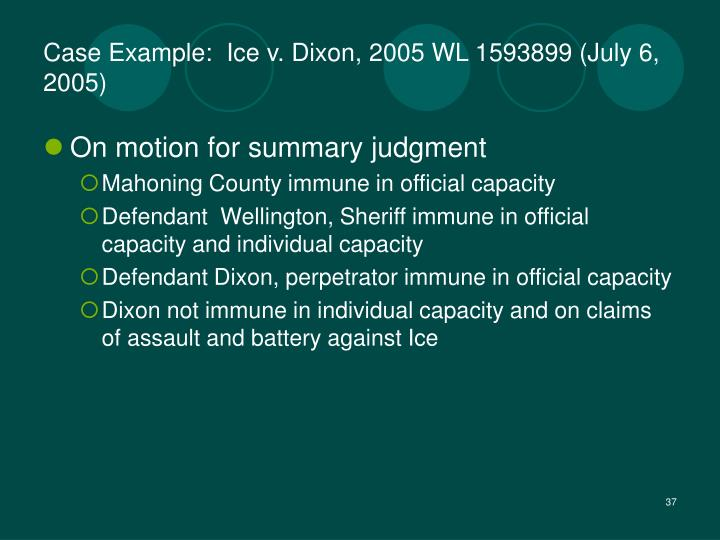 Case Example:  Ice v. Dixon, 2005 WL 1593899 (July 6, 2005)