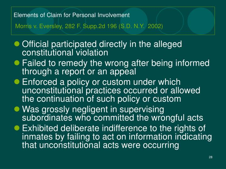 Elements of Claim for Personal Involvement