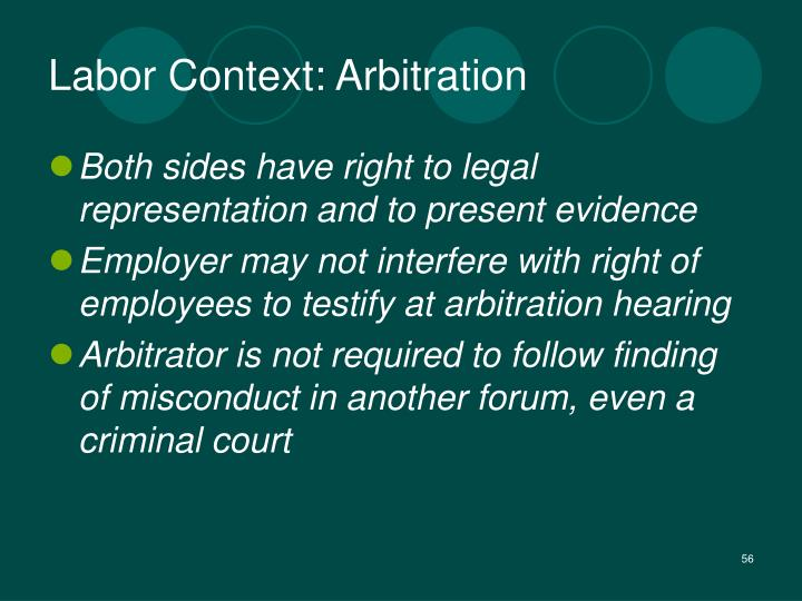 Labor Context: Arbitration