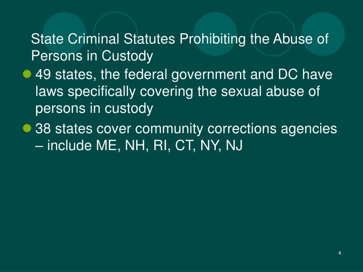 State Criminal Statutes Prohibiting the Abuse of Persons in Custody