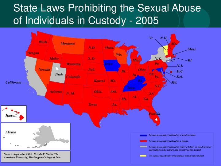 State Laws Prohibiting the Sexual Abuse of Individuals in Custody - 2005