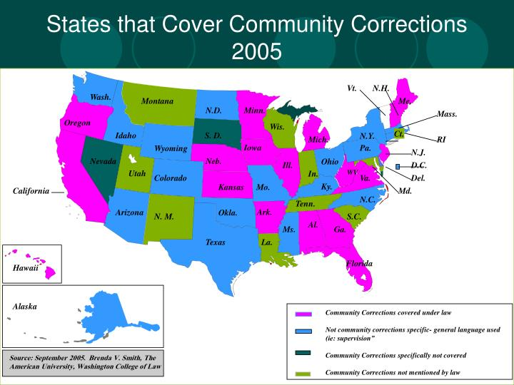 States that Cover Community Corrections 2005
