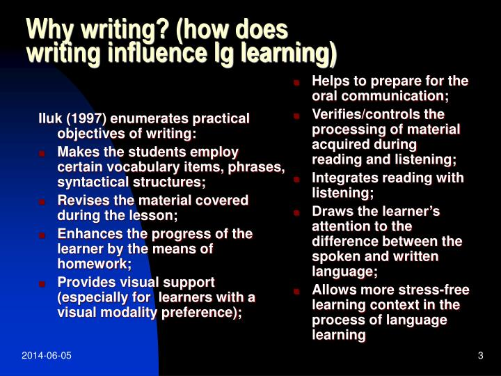 Why writing how does writing influence lg learning