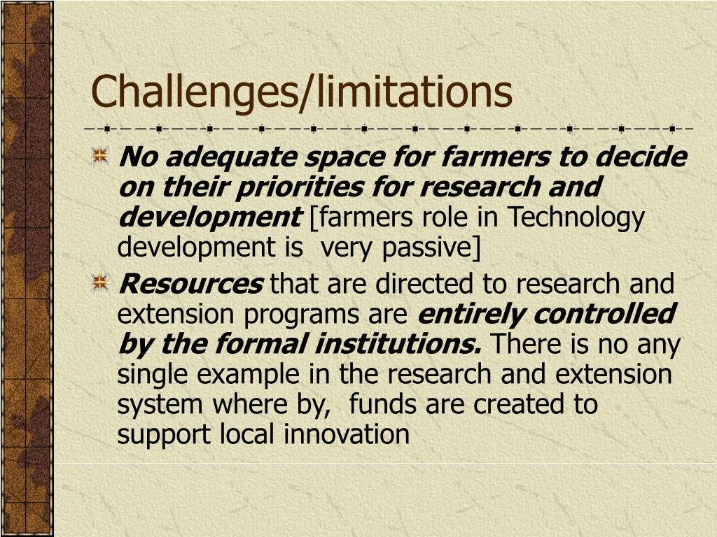 Challenges/limitations