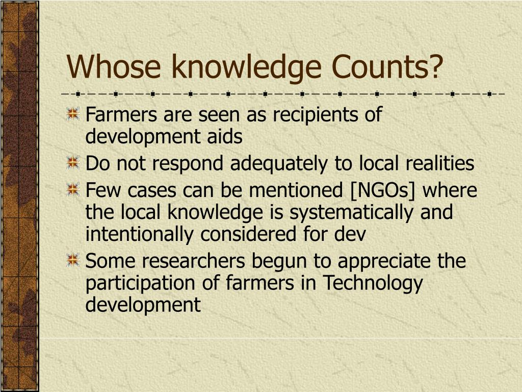 Whose knowledge Counts?