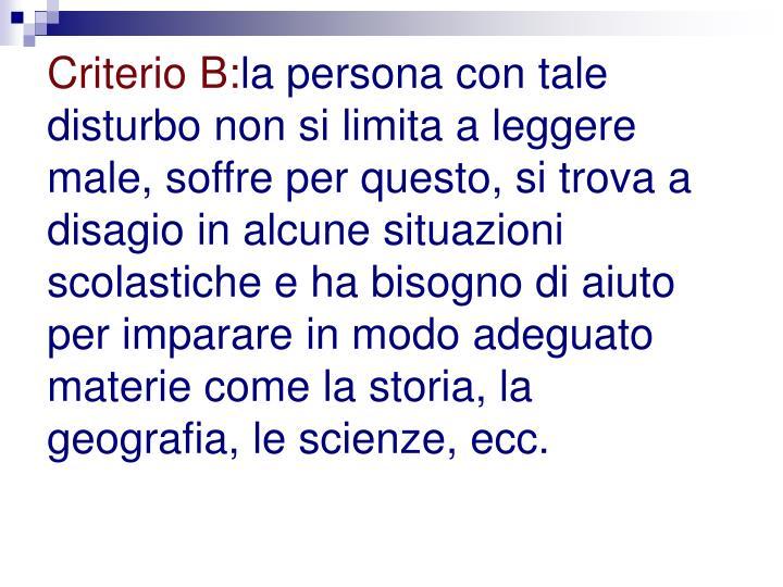 Criterio B:
