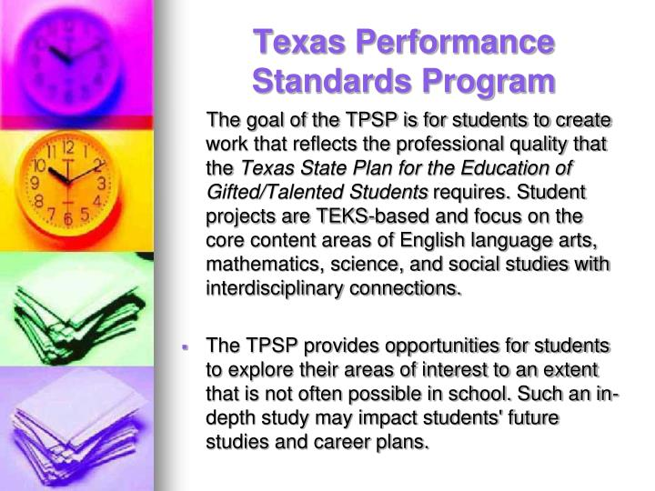Texas Performance Standards Program