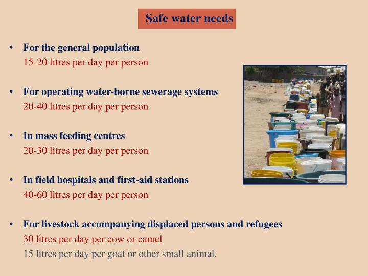 Safe water needs