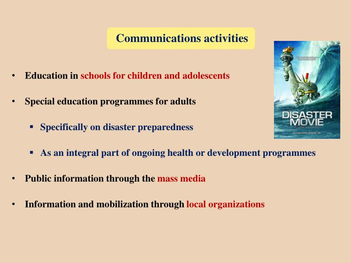 Communications activities
