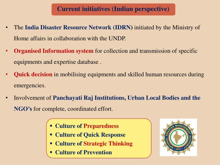 Current initiatives (Indian perspective)