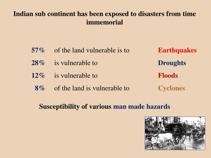 Indian sub continent has been exposed to disasters from time immemorial