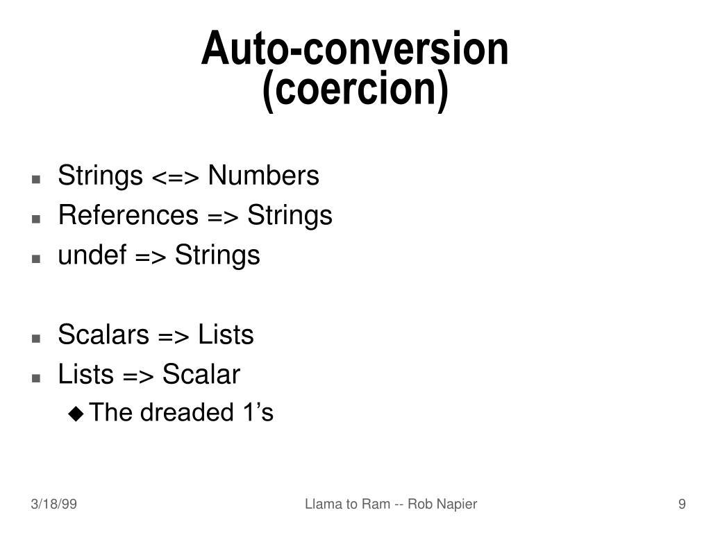 Auto-conversion (coercion)