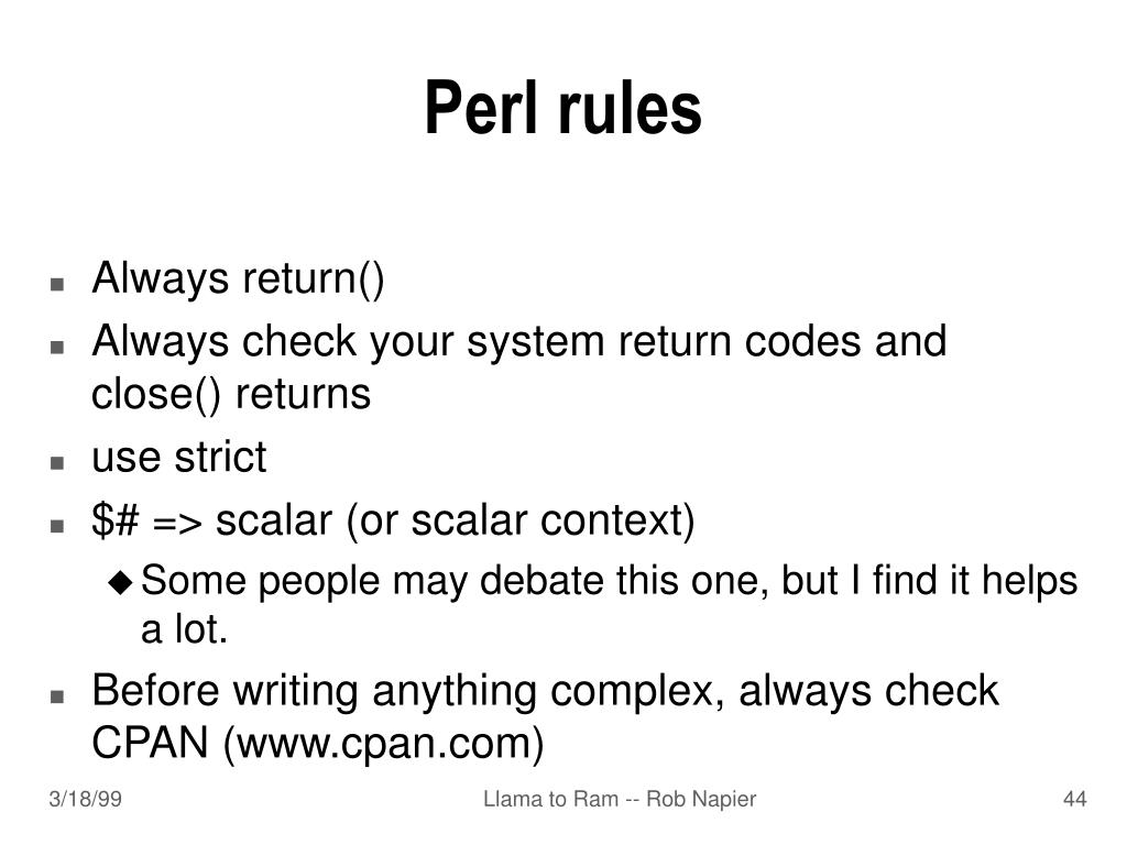 Perl rules