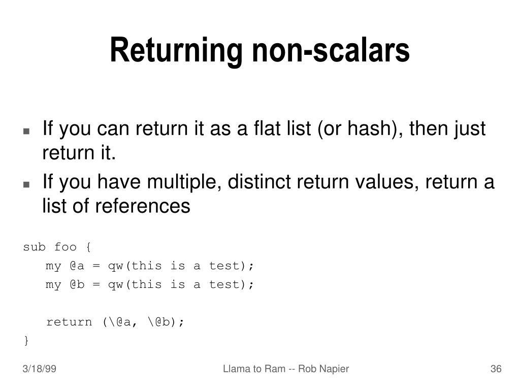 Returning non-scalars
