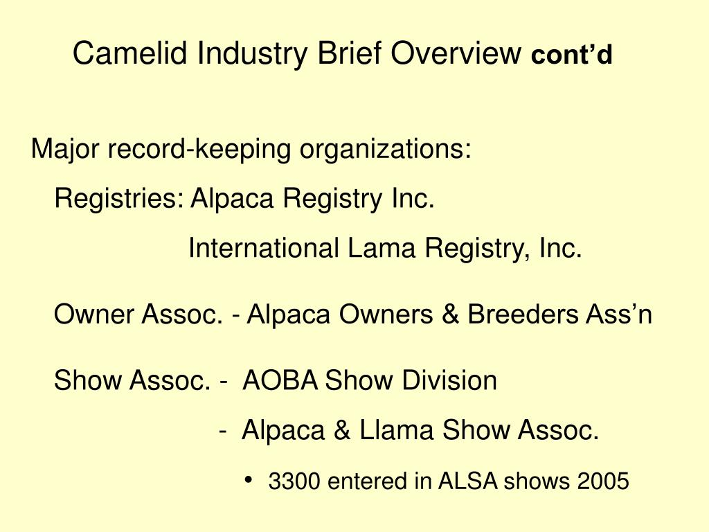 Camelid Industry Brief Overview