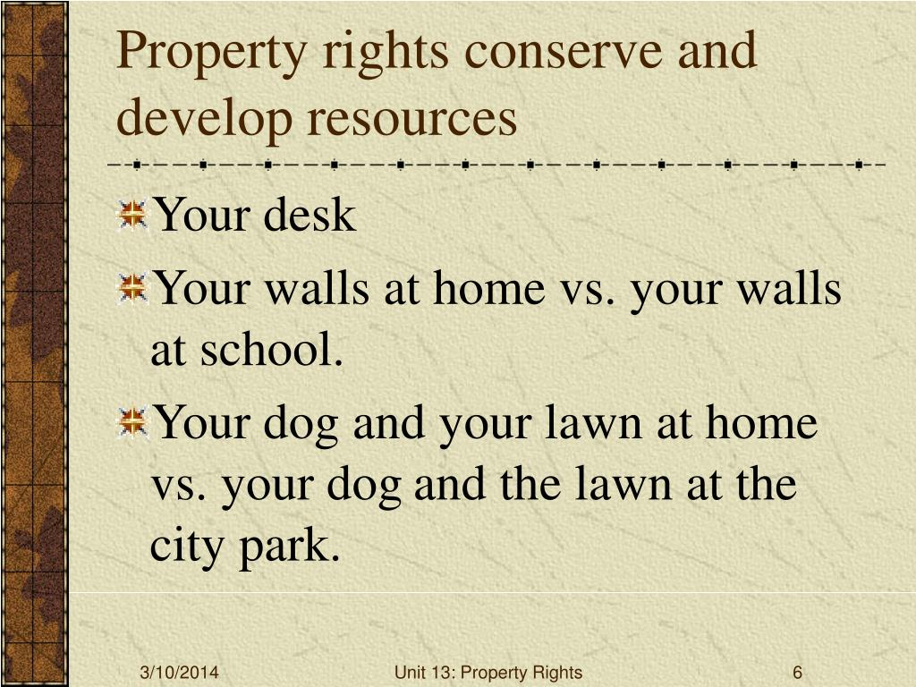 Property rights conserve and develop resources