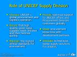 role of unicef supply division