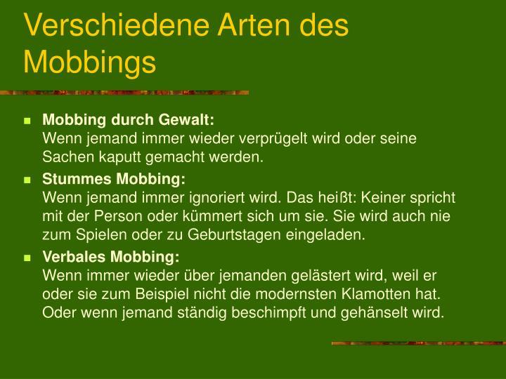 Verschiedene Arten des Mobbings