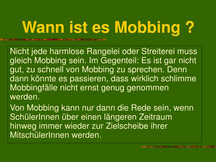 Wann ist es Mobbing ?