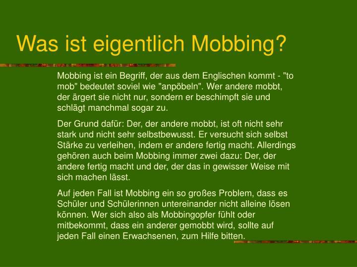 Was ist eigentlich Mobbing?