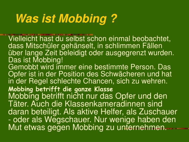 Was ist Mobbing ?