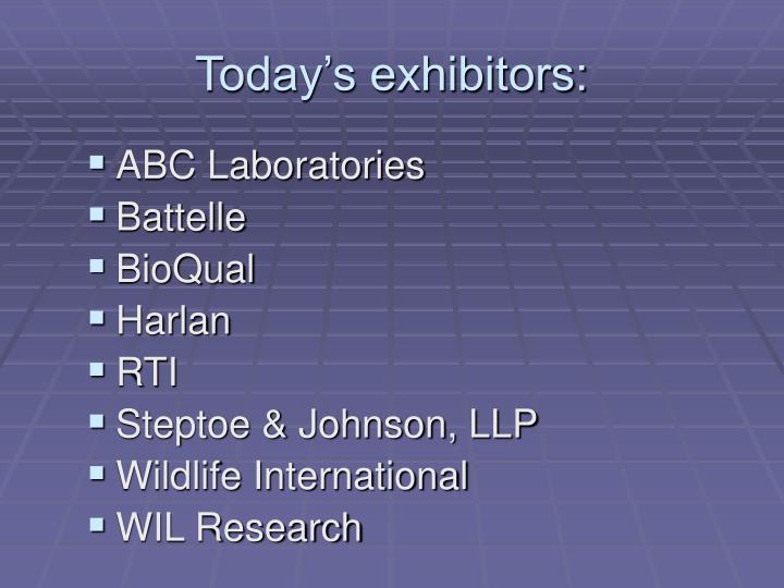 Today's exhibitors: