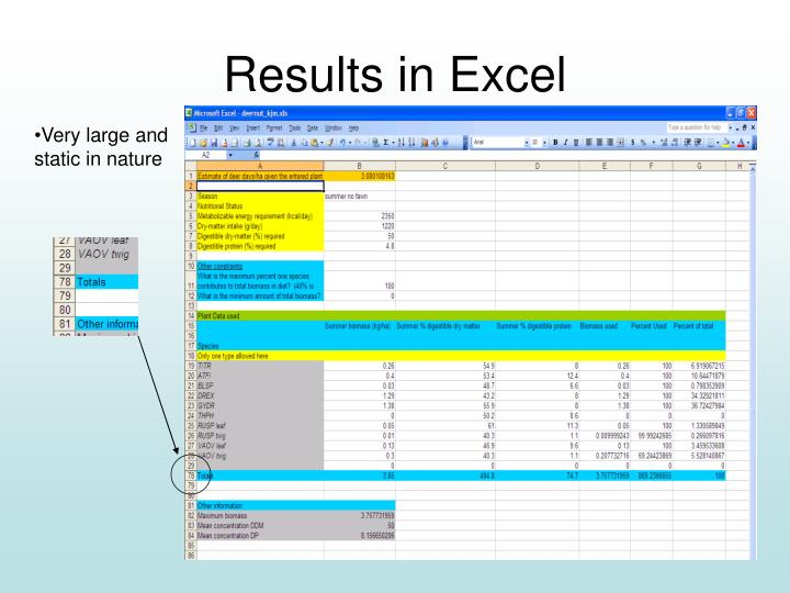 Results in Excel