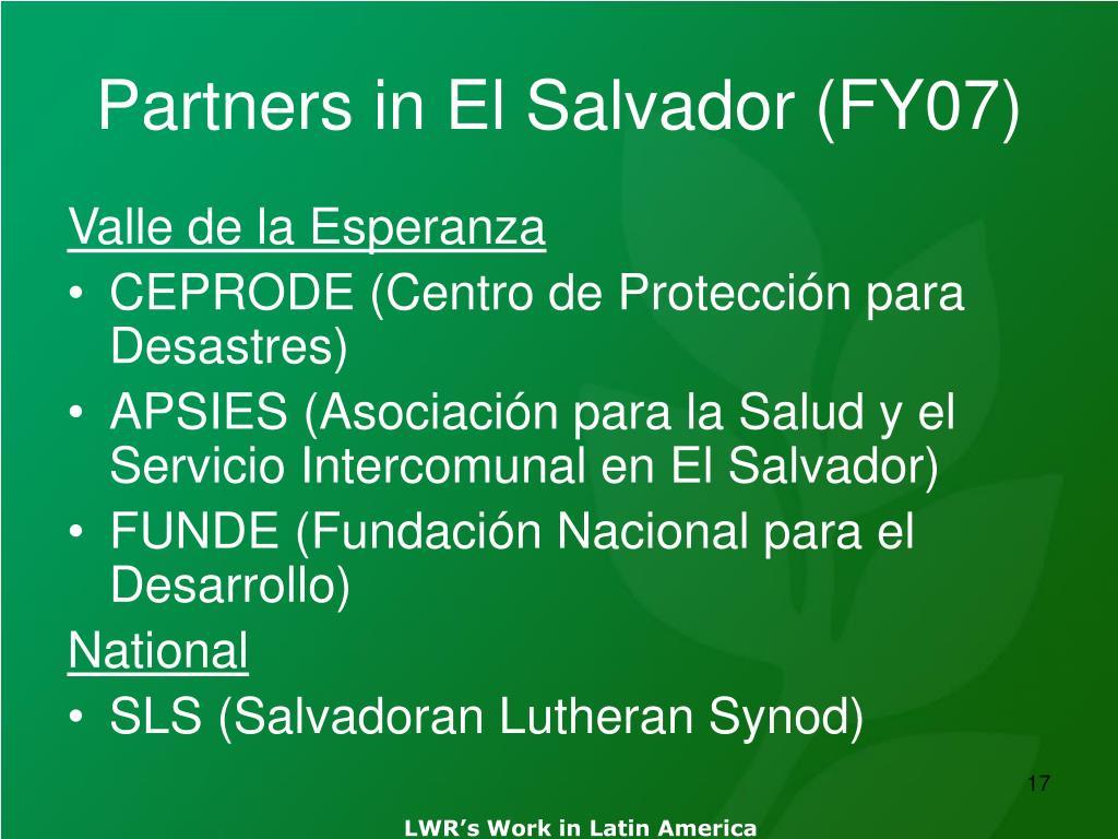 Partners in El Salvador (FY07)