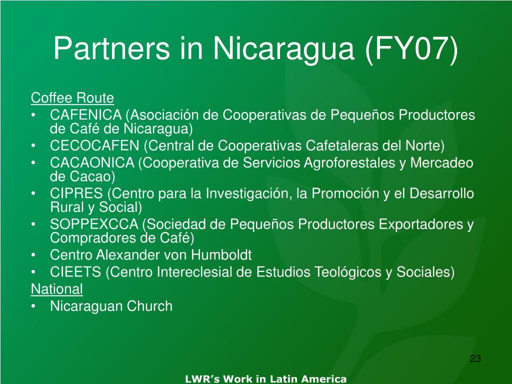 Partners in Nicaragua (FY07)