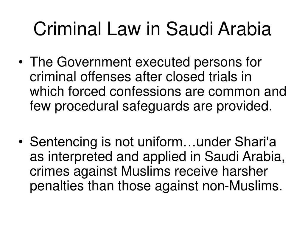 Criminal Law in Saudi Arabia