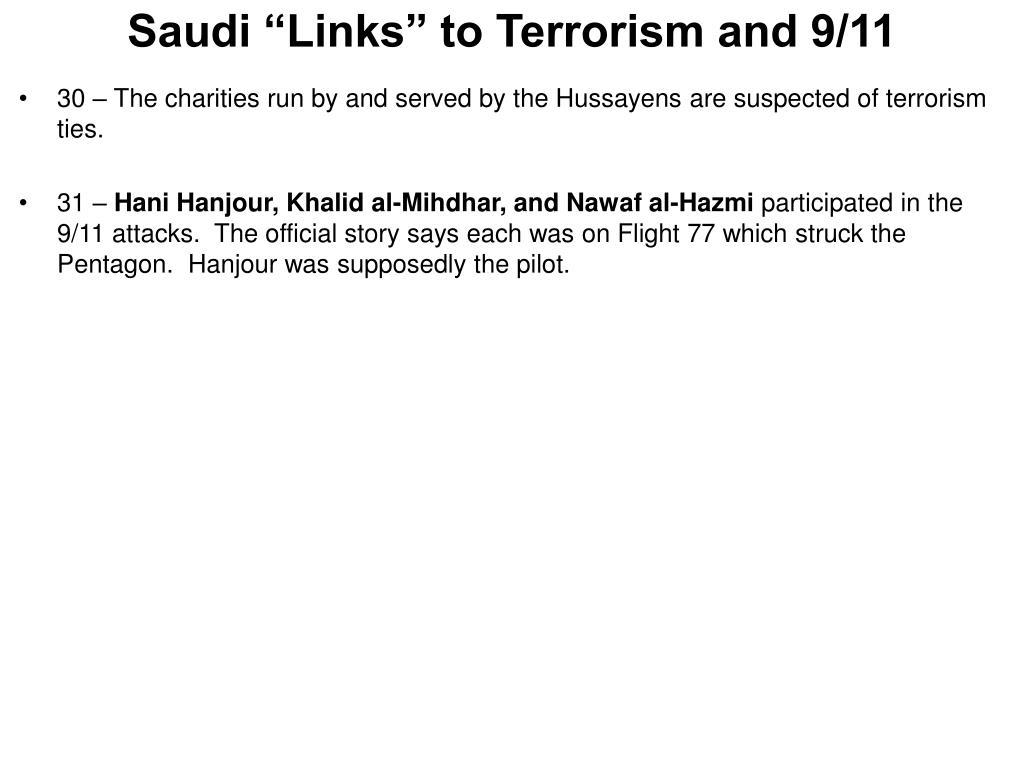 "Saudi ""Links"" to Terrorism and 9/11"