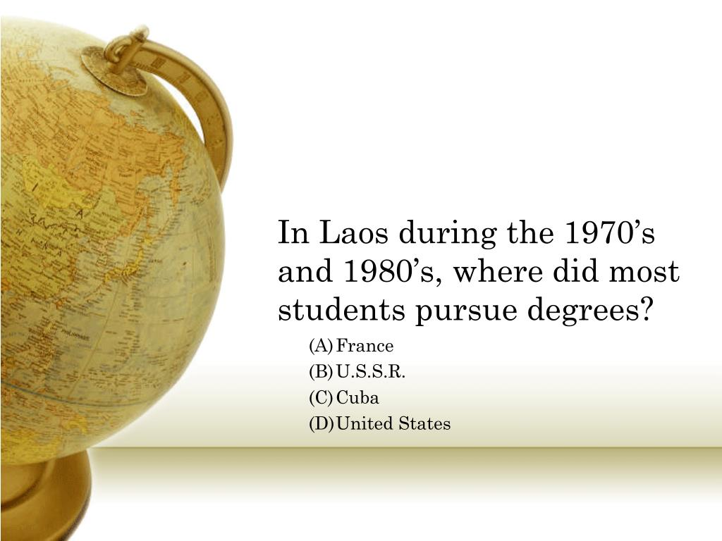 In Laos during the 1970's and 1980's, where did most students pursue degrees?