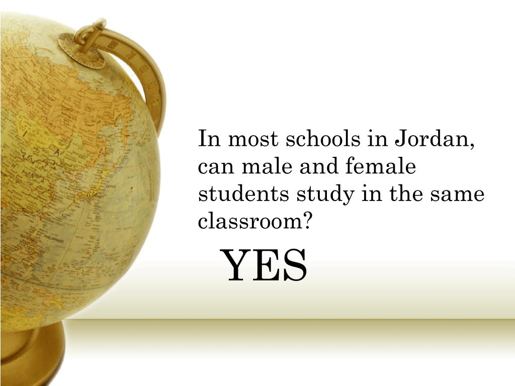 In most schools in Jordan, can male and female students study in the same classroom?