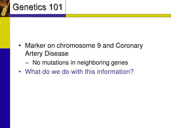 Marker on chromosome 9 and Coronary Artery Disease