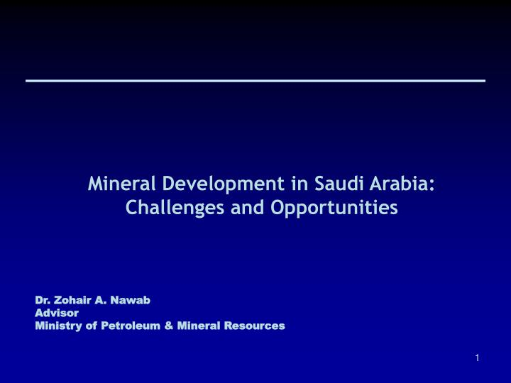 Mineral Development in Saudi Arabia: